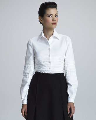 Chado Ralph Rucci Quilted Pique-Knit Shirt