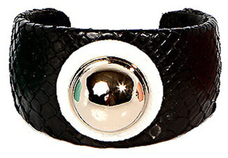 Ted Rossi Python Circle Dome Cuff in Black/ White