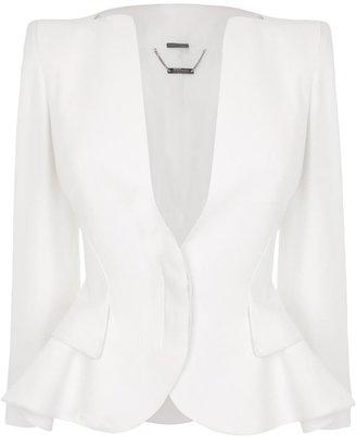 Alexander McQueen White Crepe Wing Peplum Jacket
