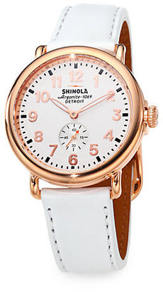 Rosegold Shinola Runwell Rose Goldtone PVD Stainless Steel & Leather Strap Watch