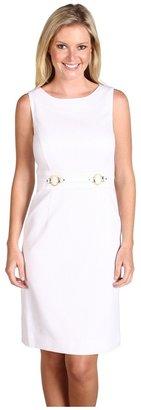 Tahari by Arthur S. Levine Tahari by ASL - Lindsay Cotton Jacquard Sleeveless Dress (White) - Apparel
