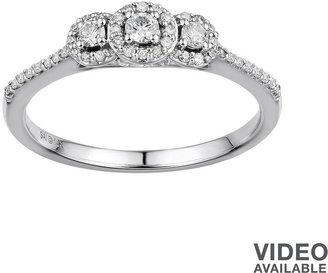 Vera Wang Simply vera diamond halo 3-stone engagement ring in 14k white gold (1/4 ct. t.w.)