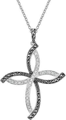Swarovski Lavish By Tjm Lavish by TJM Sterling Silver Crystal Cross Pendant - Made with Marcasite