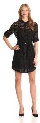 DKNY DKNYC Women's Button-Through Shirt Dress With Self Belt