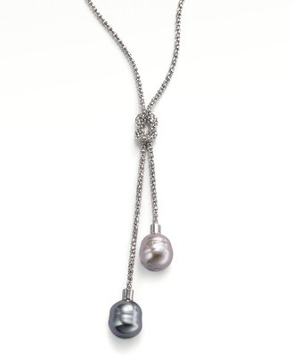 Majorica 14MM Grey and Nuage Baroque Pearl & Sterling Silver Lariat Necklace