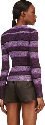 Alexander Wang Purple Ribbed & Striped Sweater