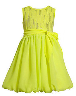 Bonnie Jean Girls' 4-6X Neon Yellow Chiffon Bubble Dress
