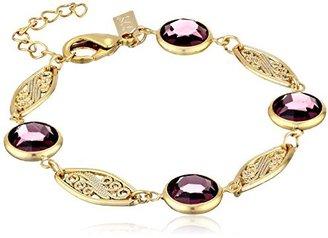 1928 Jewelry Gold-Tone Simulated-Amethyst Swarovski Crystal Link Bracelet $32 thestylecure.com
