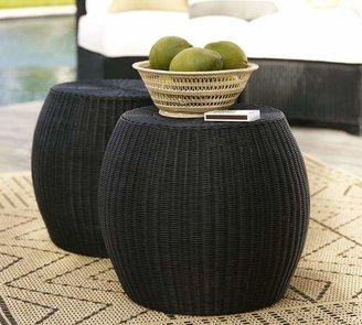 Pottery Barn Palmetto All-Weather Wicker Side Table, Black