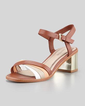 Pour La Victoire Rhea Golden-Heel Sandal, Brown Multi