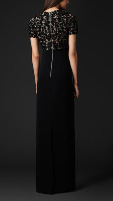 Burberry Embroidered Bodice Plunge-Neck Dress