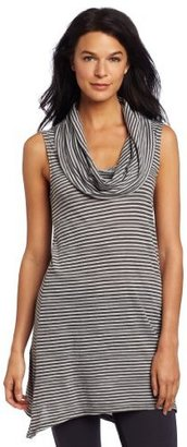Allen Allen Women's Stripe Sleeveless Angled Cowl Neck Shirt