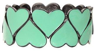 Retro Chic Hematite & Mint Heart Stretch Bracelet