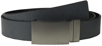 Calvin Klein 38MM Reversible Flat Strap Smooth/Leather w/ Embossed Lines (Grey Black) Men's Belts