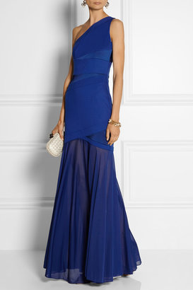 Halston Ponte, satin and stretch-georgette gown