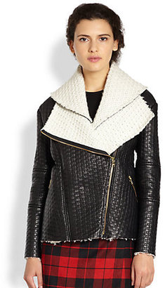 Alice + Olivia Carrie Double-Collared Leather Jacket