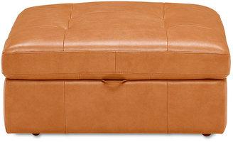 "Blayne Leather Ottoman, 39""W x 39""D x 19""H"