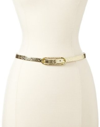 Nine West Women's Metallic Python Belt With Wrapped Buckle