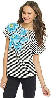 Chaus Stripe Drape Sleeve Floral Stripe Tee