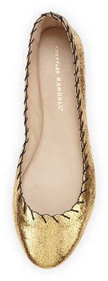 Loeffler Randall Karlotta Metallic Scalloped Ballerina Flat, Gold