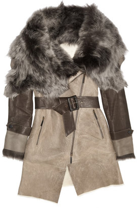 Karl Donoghue Belted shearling-trimmed leather coat