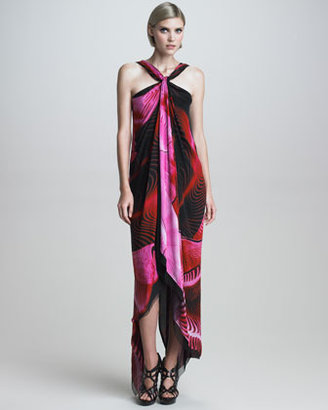 Roberto Cavalli Asymmetric Printed Halter Maxi Dress