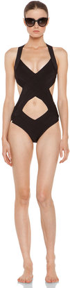 Herve Leger Criss Cross One Piece Swimsuit in Black