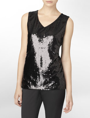 Calvin Klein Squared Sequin-Front Top