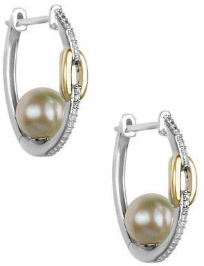 Off-White FINE JEWELLERY 8MM Freshwater Pearl, Diamond, Sterling Silver and 10K Yellow Gold Earrings