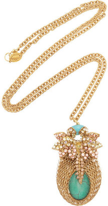 Swarovski Bijoux Heart Bud gold-plated, crystal and turquoise necklace
