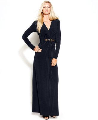 MICHAEL Michael Kors Long-Sleeve Belted Maxi Dress