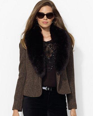 Lauren Ralph Lauren One Button Jacket with Faux Fur Collar