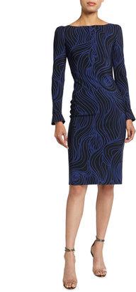 Chiara Boni Darsey Printed Long-Sleeve Cocktail Dress