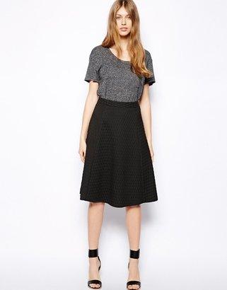 Warehouse Textured Midi Skirt