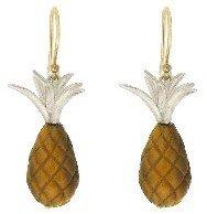 Annette Ferdinandsen Carved Tiger's Eye Pineapple Earrings - Sterling Silver