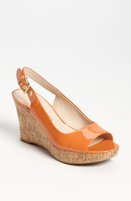 Franco Sarto 'Colley' Wedge Sandal Pumpkin Patent 8 M