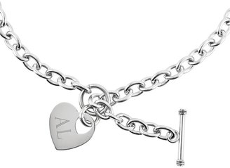 "Steel By Design 18"" Engravable Heart Charm Toggle Necklace"