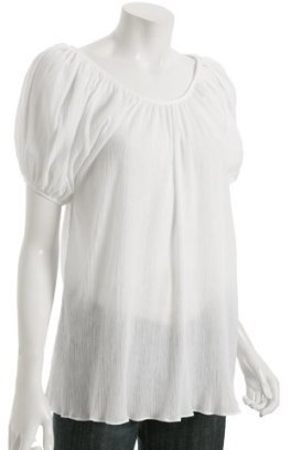Geren Ford white cotton gauze puff sleeve tunic