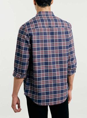 Topman Navy Plaid Long Sleeve Oxford Shirt