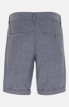 Topman Stripe Cotton Shorts White/ Grey 36