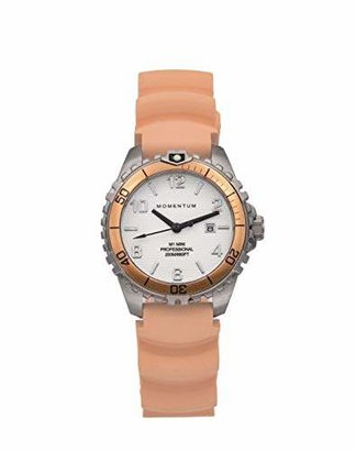Momentum Women's Quartz Watch | M1 Mini by | Stainless Steel Watches for Women | Dive Watch with Japanese Movement & Analog Display | Water Resistant Ladies Watch with Date - White/Orange Rubber