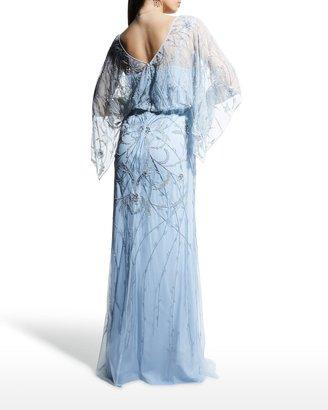 Aidan Mattox Blouson Beaded Tulle Gown