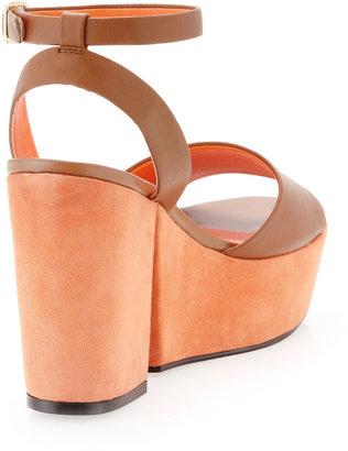 Kelsi Dagger Tani Two-Tone Platform Sandal, Luggage/Orange