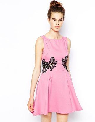 AX Paris Skater Dress with Lace Waist Detail