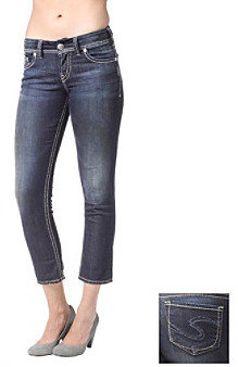 Silver Jeans Co. Suki Curvy Fit Mid-Rise Roll Cuff Capri Jeans