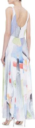 Alice + Olivia Nina Watercolor-Printed Maxi Dress