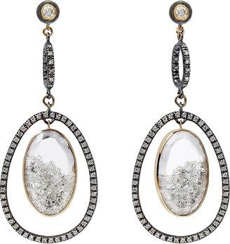 Moritz Glik Diamond and Sapphire Drop Orbit Earrings