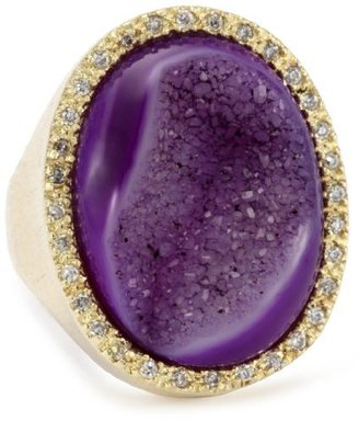 """Marcia Moran Regal"""" 18k Gold-Plated Purple and Cubic Zirconia Ring"""