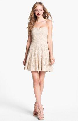 BCBGMAXAZRIA Strapless Lace Fit & Flare Dress