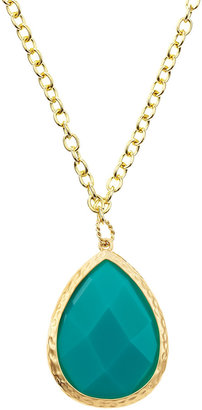 Greenbeads Teardrop Pendant Necklace, Turquoise